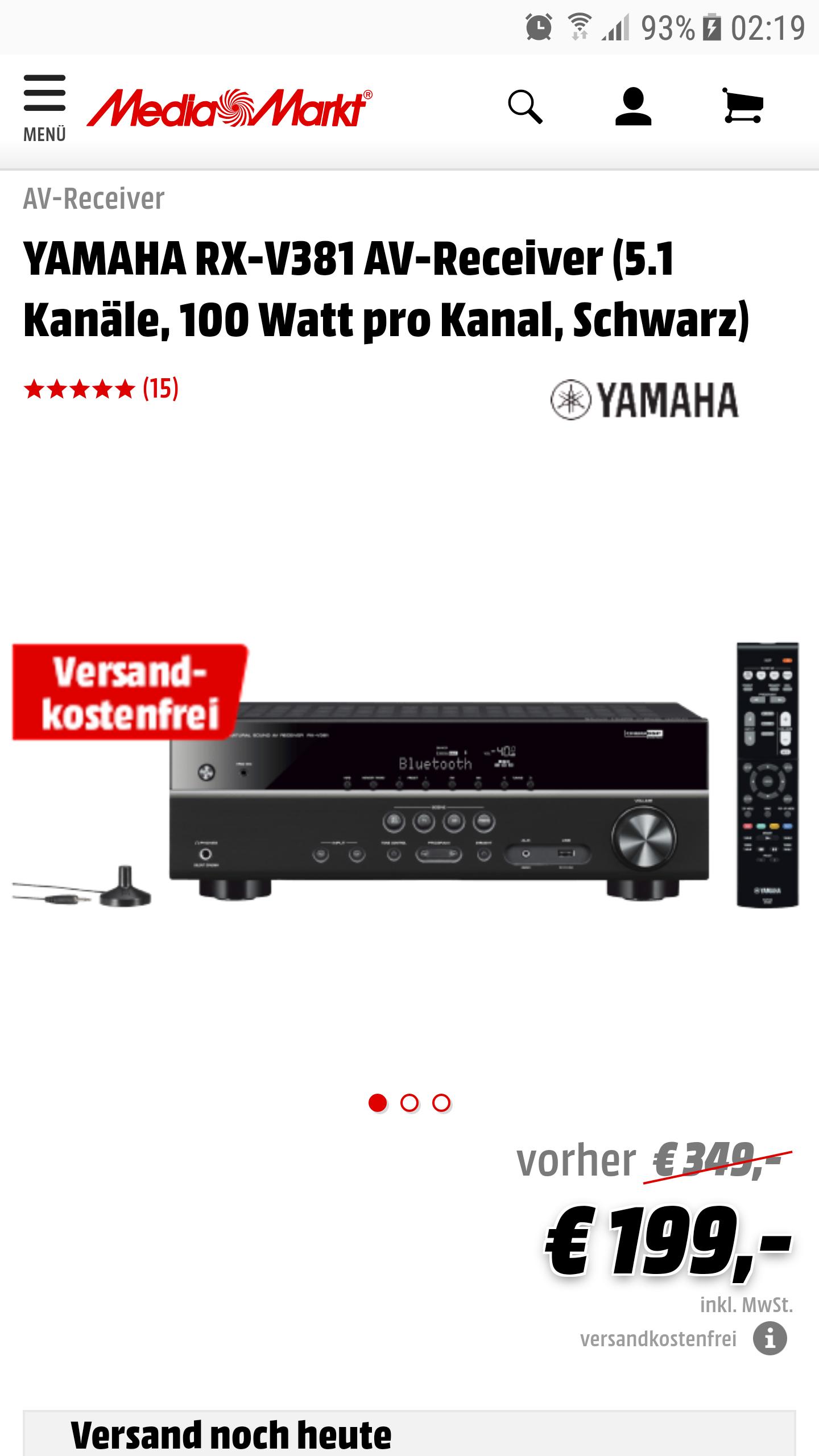 [Media Markt Online/Redcoon] YAMAHA RX-V381 5.1 AV Heimkino Receiver in Schwarz / Versandkostenfrei