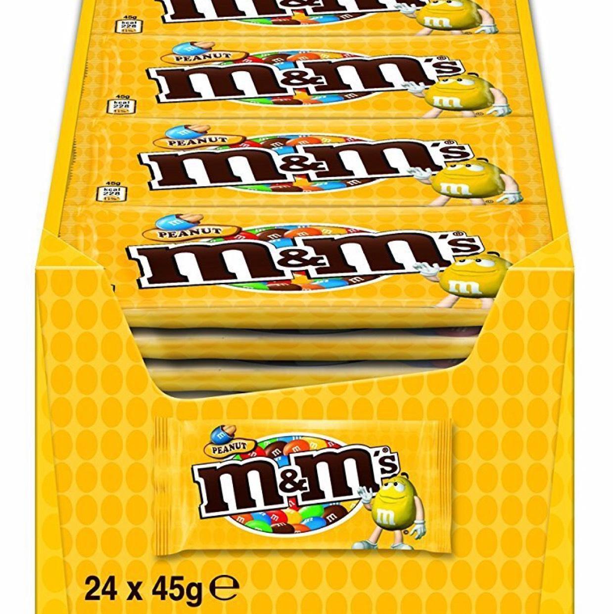 [Amazon.de] M&M'S Erdnuss / Schokolinsen mit knackigem Erdnusskern und bunter Zuckerhülle / Single Beutel für unterwegs / 24 x 45g mini Beutel