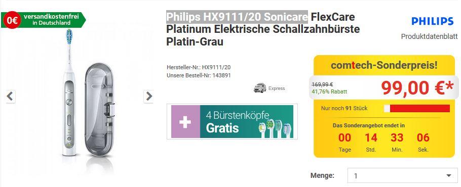 Philips HX9111/20 Sonicare + 4 Bürsten Gratis