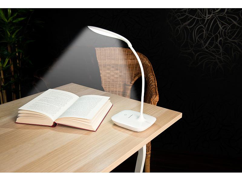 Schwanenhals-Schreibtischlampe mit 3-Watt-COB-LED & Akku (dimmbar, USB, 120 Lumen, 6300K)