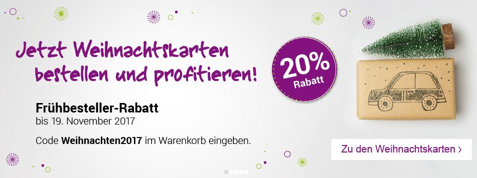 20% Frühbesteller-Rabatt für Weihnachtskarten bei kartenmacher.ch