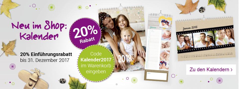 20% Einführungsrabatt für Kalender bei kartenmacher.ch