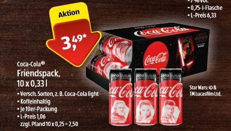 [Aldi Süd- 24.11 - 25.11] Coca Cola Friendspack / Star Wars Edition. 10 x 0,33Liter Dose für 3,49€ zzgl.Pfand