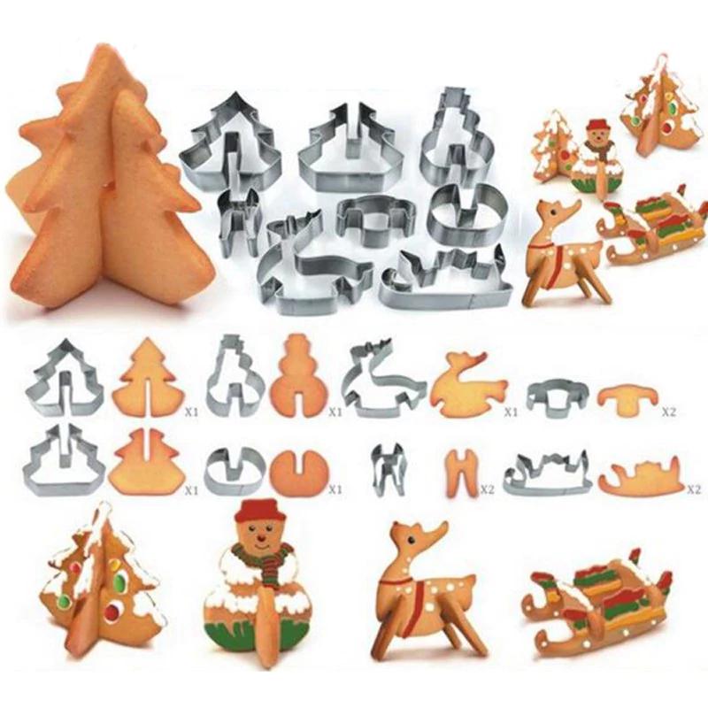 In der Weihnachtsbäckerei: 8er Pack Plätzchen Ausstecher für 3D Kekse