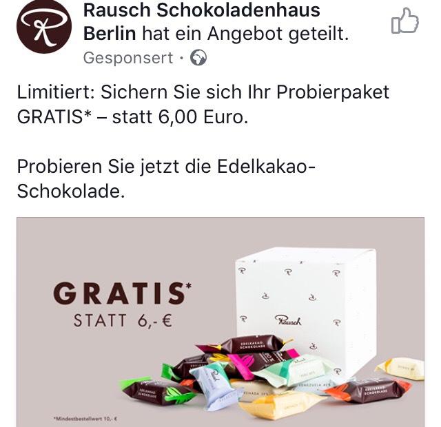 Rausch (Schokolade) - Probierpaket (Wert: 6 Euro) gratis ab 10 Euro MBW