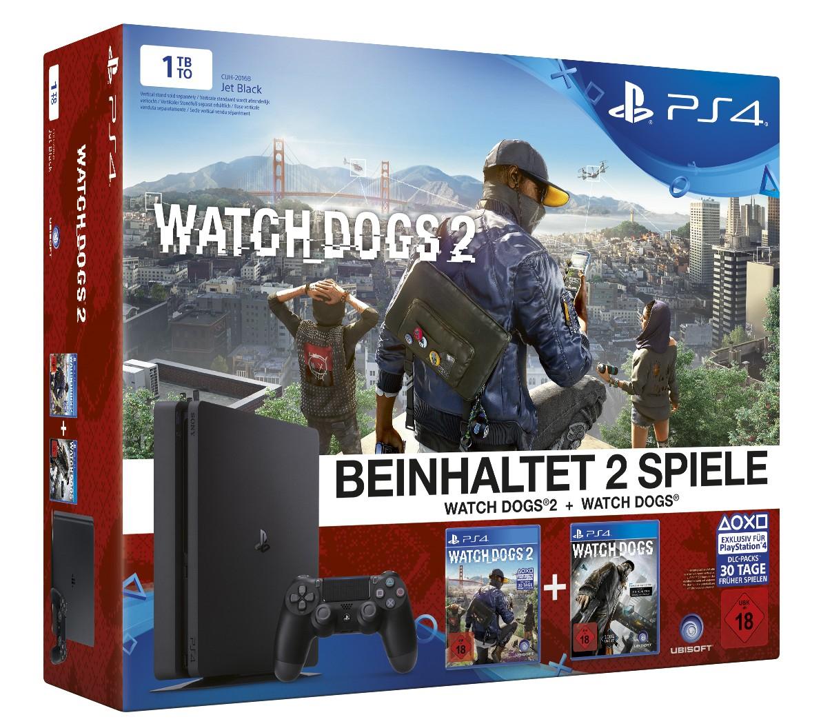 PlayStation 4 1TB Slim + Watchdogs 1+2 (REGIONAL: DEGGENDORF)