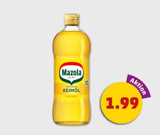Mazola Keimöl 750ml-Flasche nun zum Bestpreis von nur 1,99€ statt 3,19 bei Penny (Bundesweit)