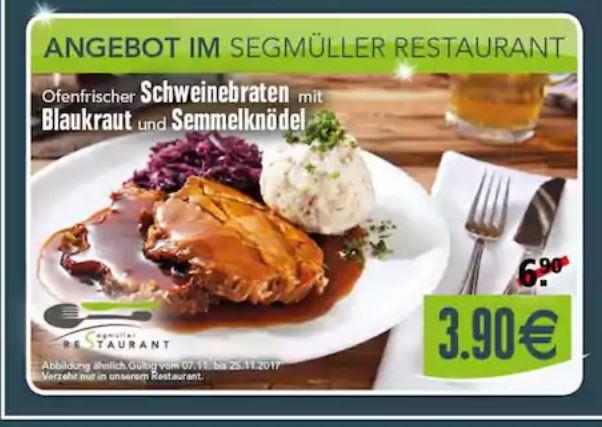 Angebot bei Segmüller in (Parsdorf) Ofenfrische Schweinebraten mit Blaukraut und Semmelknödel nur 3,90 Euro