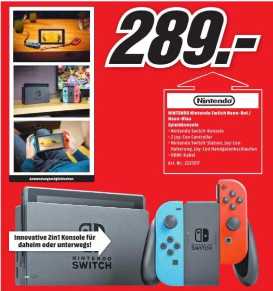 [Regional Mediamarkt Halle-Peißen] Und noch ein Switch Angebot- Nintendo Switch schwarz + Joy-Con neon-rot/neon-blau für 289,-€