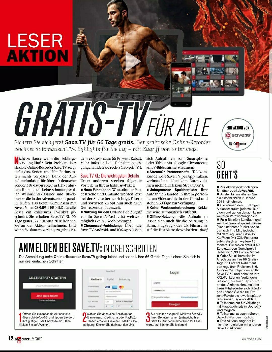 Save.TV. 66 Tage kostenlos, danach 3,40€ im Monat anstatt 9,99€.