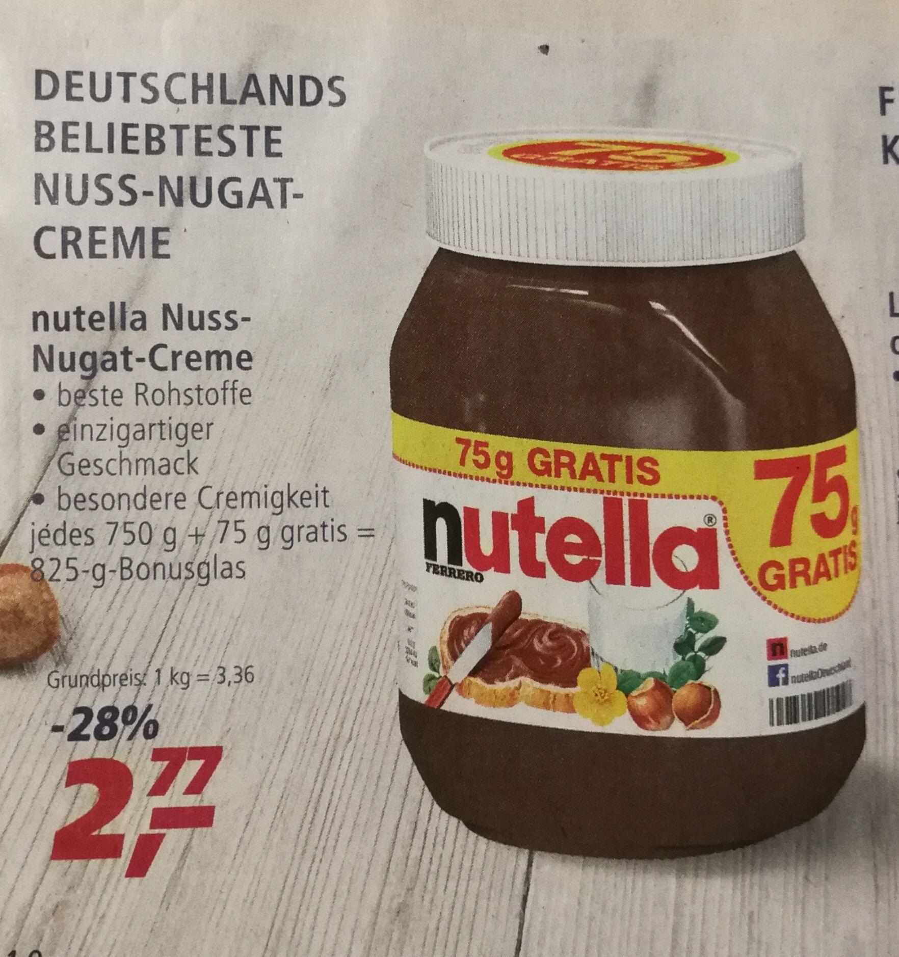 [Real] Nutella 750g + 75g gratis 1kg=3,36€