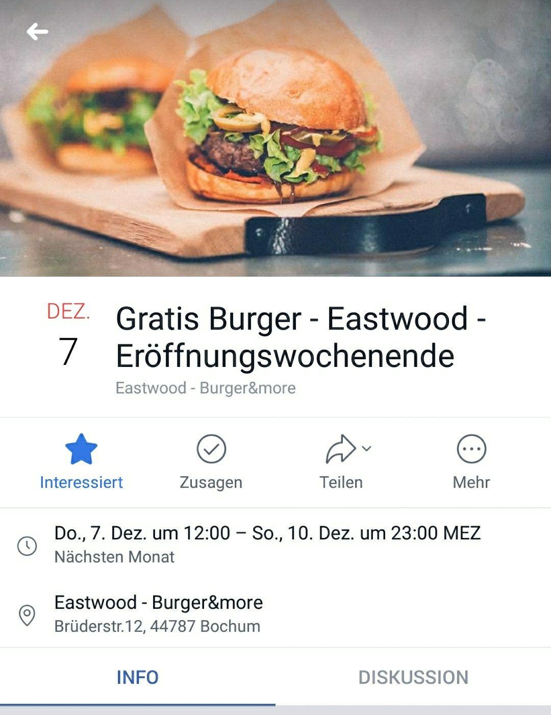 Gratis Burger (Lokal Bochum )