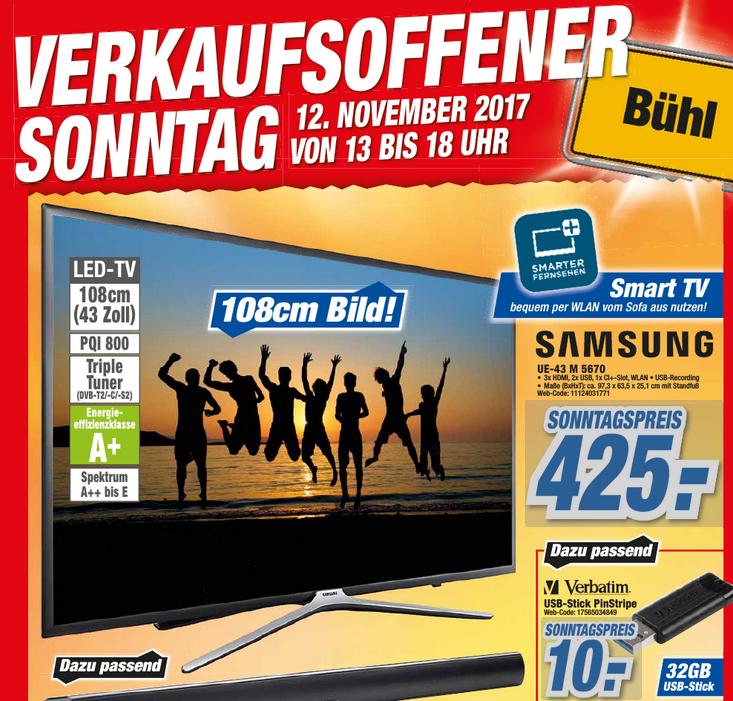 [Lokal Bühl] Verkaufsoffener Sonntag, z.B. Samsung UE43M5670 für 425 €, Nintendo Switch für 299 €, Verbatim PinStripe 32 GB USB-Stick für 10 € und weitere Angebote