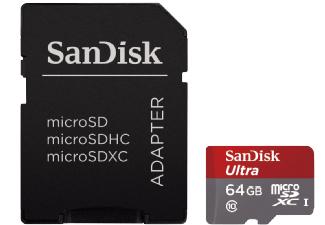 SANDISK Ultra Micro-SDXC Speicherkarte + Adapter, 64 GB, 80 MB/s, Class 10 @ Saturn