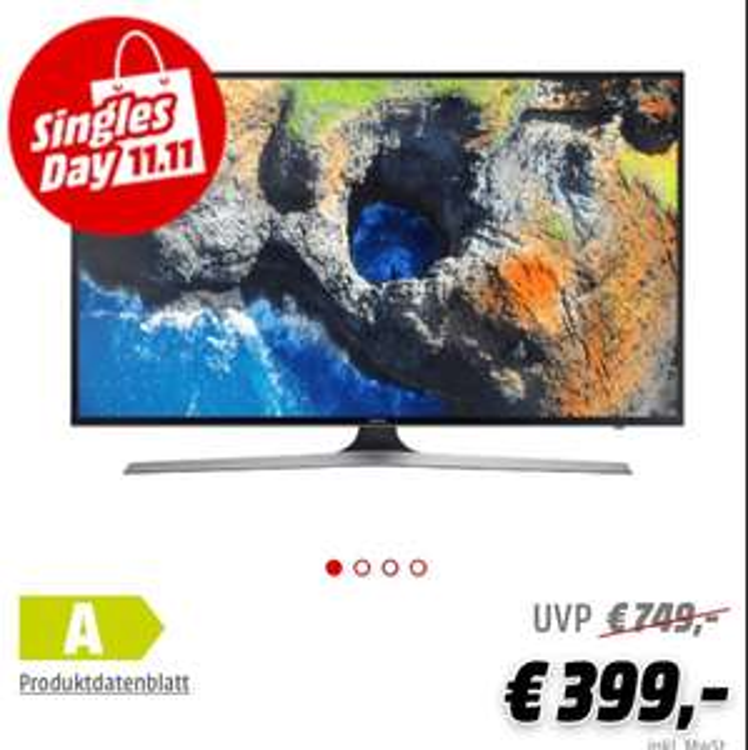 """Samsung UE43MU6199 43 Zoll, 108 cm, Top Ausstattung! (4K TV etc.) bei Media Markt zum """"Singles Day"""" bis 13.11. 09:00 Uhr"""