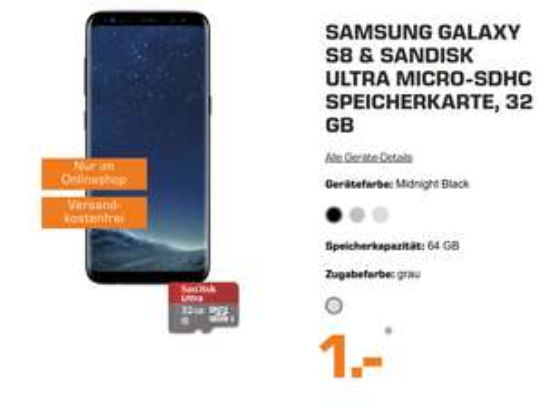Samsung Galaxy S8 + 32GB Micro-SD Karte im Mobilfunk debitel Smart Surf 5 (2GB, 50 min/SMS)