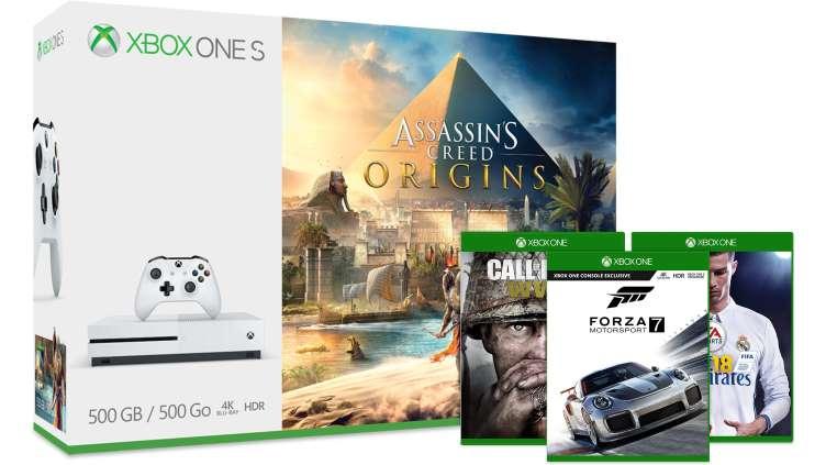 Xbox One S Assassin's Creed oder Shadow of War Bundle + 1 Spiel (COD WW II / FIFA 18 / Forza Motorsport 7) ab 229 €