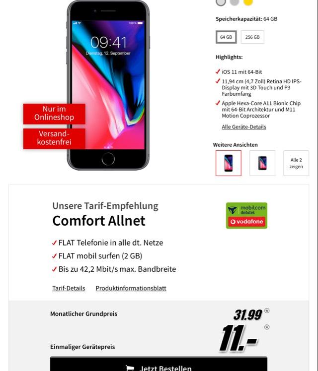 Wahnsinns Preis - IPhone 8 im Vertrag 32€, NUR 11€ Anzahlung!