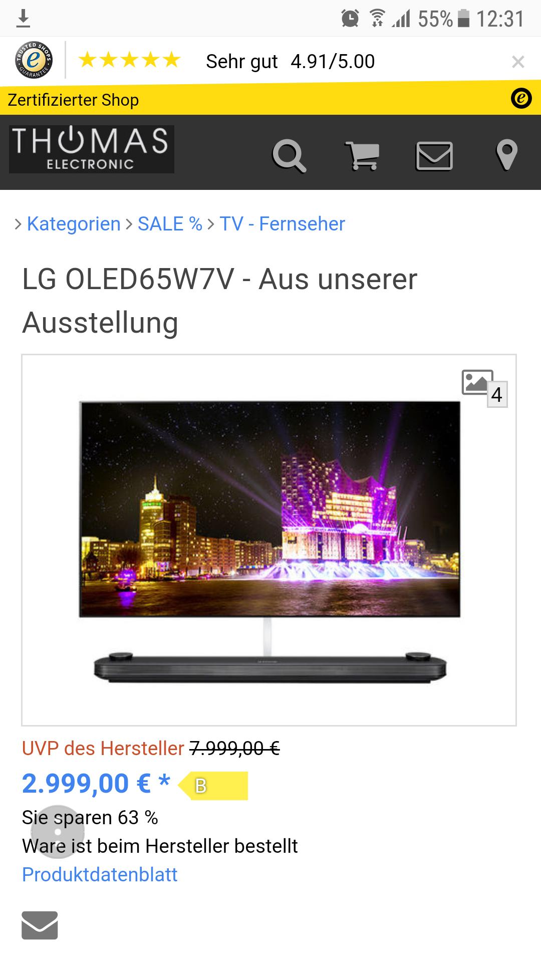 LG oled65w7v bei Thomas Electronic 2999€
