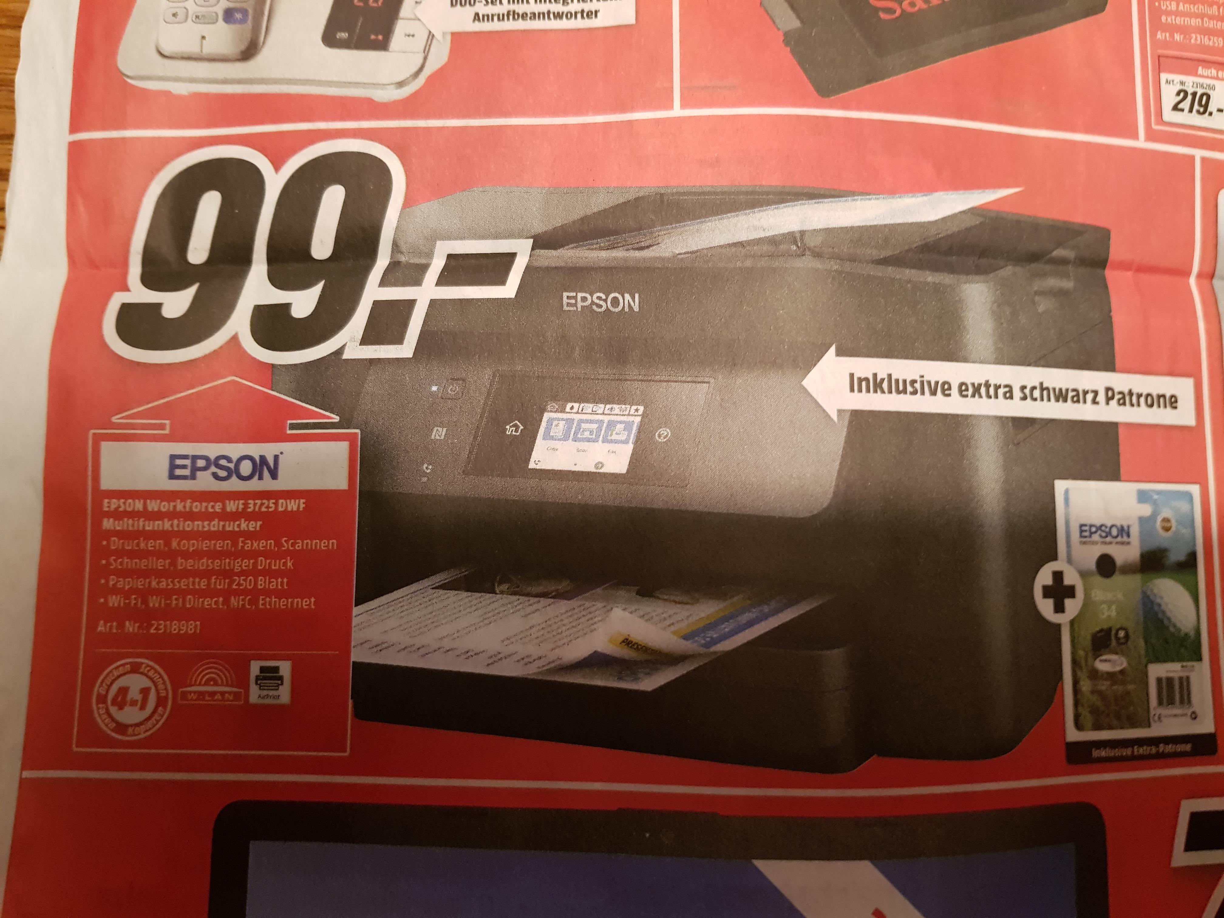 Epson Workforce WF 3725 DWF Multifunktionsdrucker inklusive extra schwarzer Patrone im Media Markt Homburg