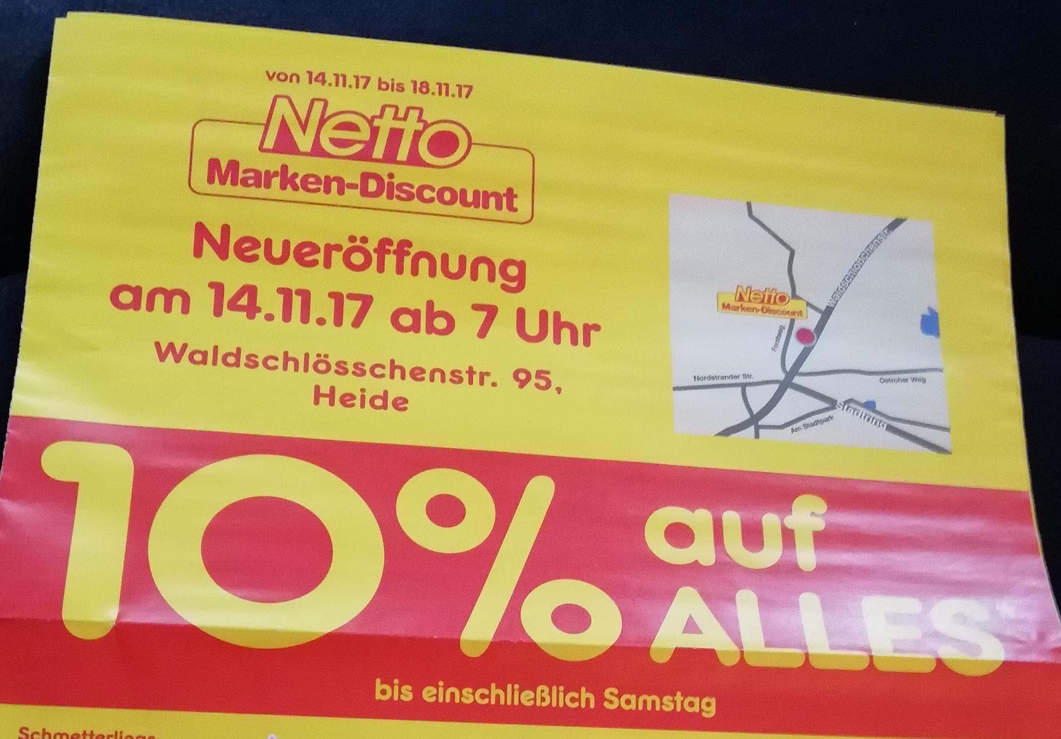 [Lokal: Heide] Netto MD: 10% auf fast alles von 14.11. - 18.11. / Bananen 0,80€ pro KG