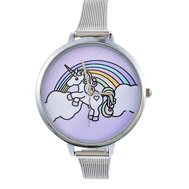 Souarts Damen Armbanduhr Einfach Mesh Metallarmband Flamingo Ananas Einhorn Regenbogen Casual Analoge Quarz Uhr Silber Farbe (Einhorn)