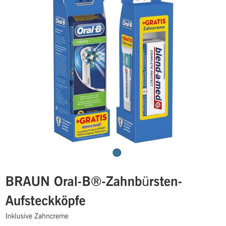 3 CrossAction-Aufsteckbürsten inklusive Zahncreme