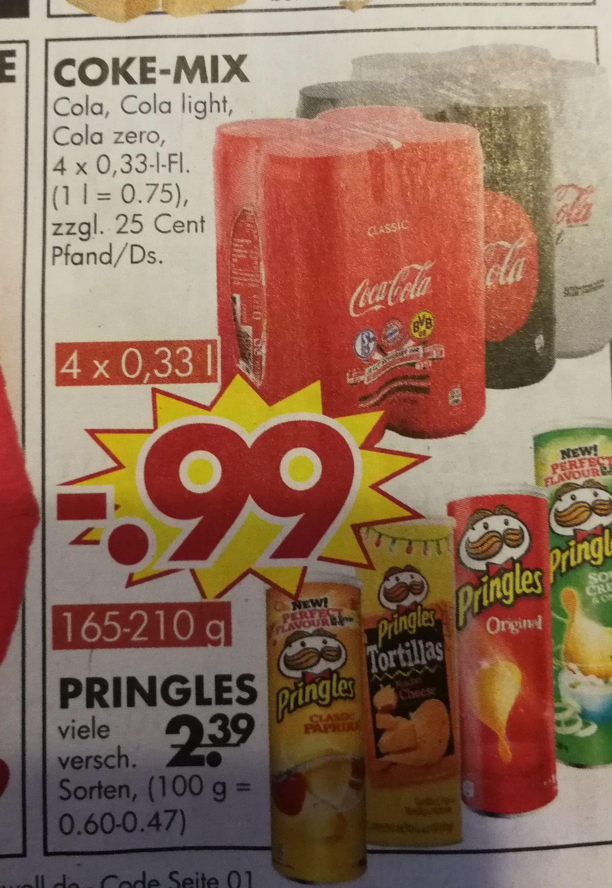 4 Dosen Coca Cola (auch Light & Zero) / Pringles für 0,99€ bei Jawoll