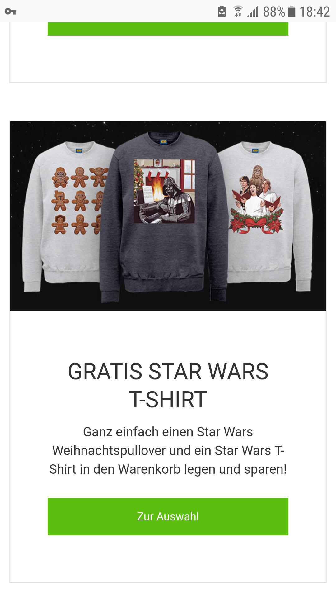 Star wars weinachtspullis mit gratis t-shirt