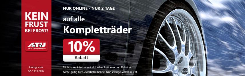 10% Rabatt Auf Kompletträder bei ATU-Online (12/13.11.2017)