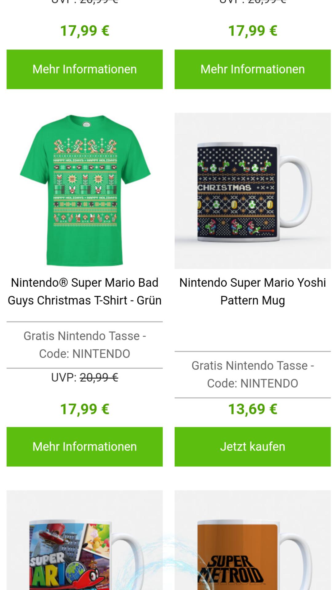 Gratis Nintendo Tasse zu jedem Nintendo Tshirt