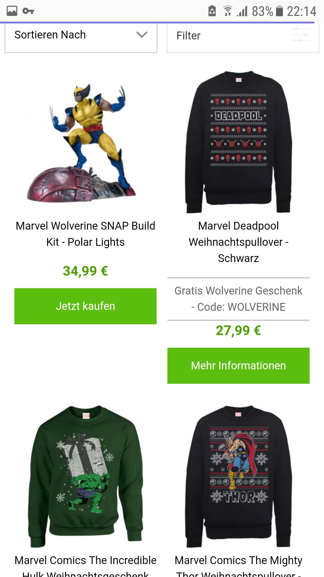 Gratis WOLVERINE Figur zu jedem Marvel  Pullover