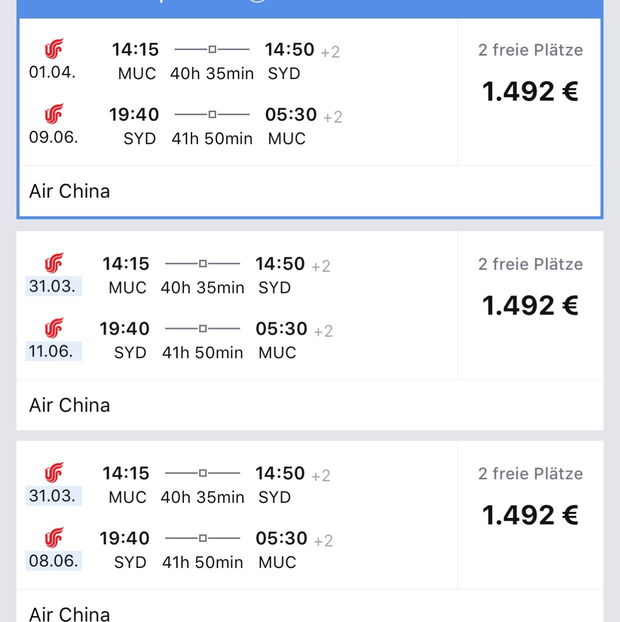 Flüge Biz: München-Sydney mit Air China (*A)