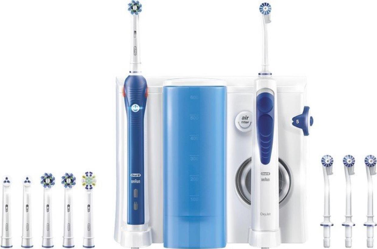 [Amazon.de] Oral-B Mundpflege Center - OxyJet Munddusche + Oral-B Pro 3000 Elektrische Zahnbürste, mit vier OxyJet Aufsteckteilen und sechs Aufsteckbürsten