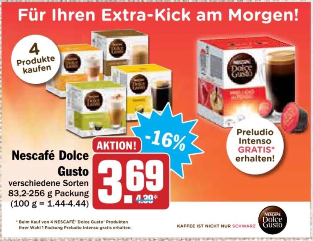 (HIT Supermarkt) 4x Dolce Gusto Kapseln nach Wahl plus 1x Preludio Lungo gratis