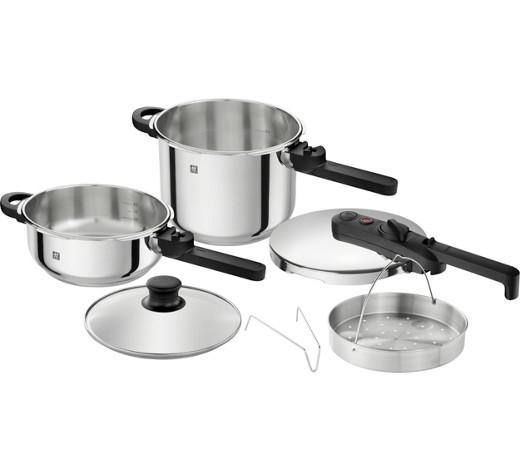 Zwilling Schnellkochtopf-Set - 2 Kochtöpfe: 6L und 3L mit Dämpfeinsatz und Zubehör