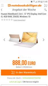 "[Notebooksbilliger] Huawei MateBook E 2in1 12"" Zoll Intel Core i5, 4GB Ram, 256GB, Windows 10, Versandkostenfrei"