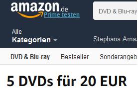 [Amazon] 5 DVD's für 20 Euro oder clever 8-10 DVD's für ca. 25-30 Euro