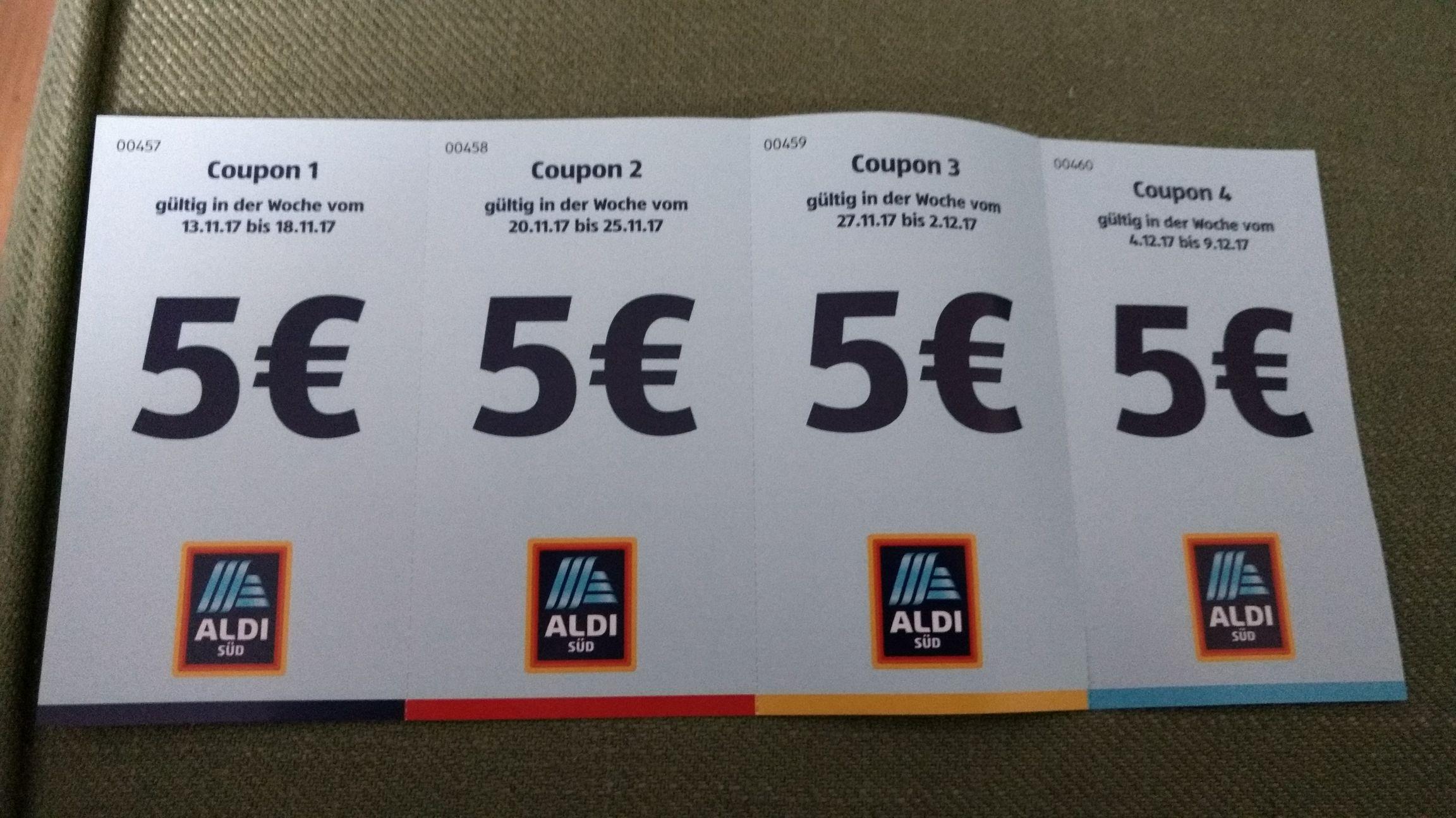 Aldi Süd (hier BN-Friesdorf) 5€ Gutschein für die nächsten 4 Wochen