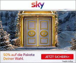Sky Weihnachtsangebot mit 50% Rabatt auf Paketpreise ab 11€ / Monat