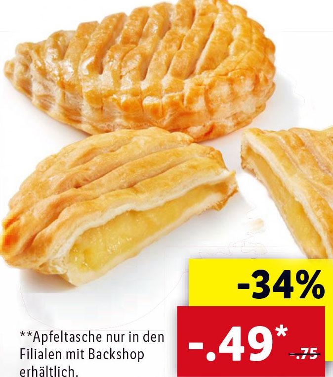 Apfeltaschen 34% billiger statt 0,75€ nur noch 0,49€ @Lidl
