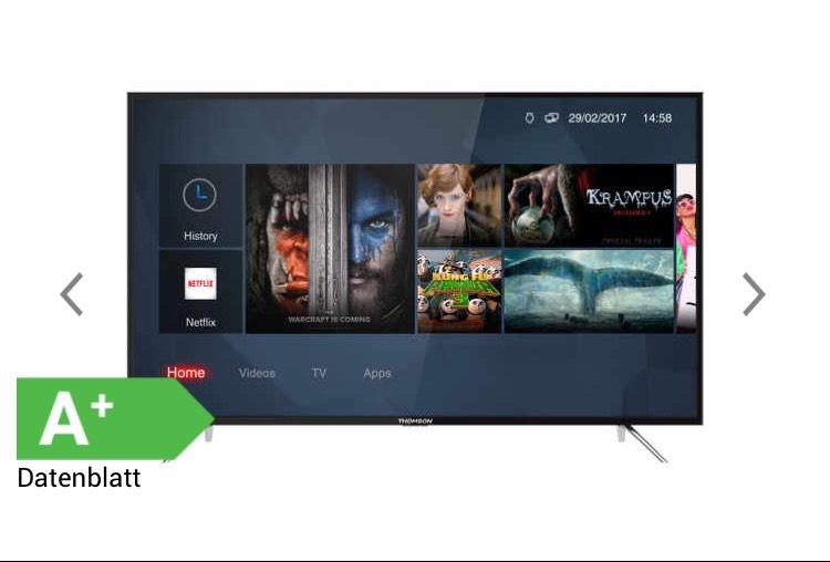 Thomson 55 UC6306 - 139 cm (55 Zoll) Fernseher (4K Ultra HD, HDR 10, Smart TV, WLAN, Triple Tuner (DVB T2), USB) - bei 0% Finanzierung