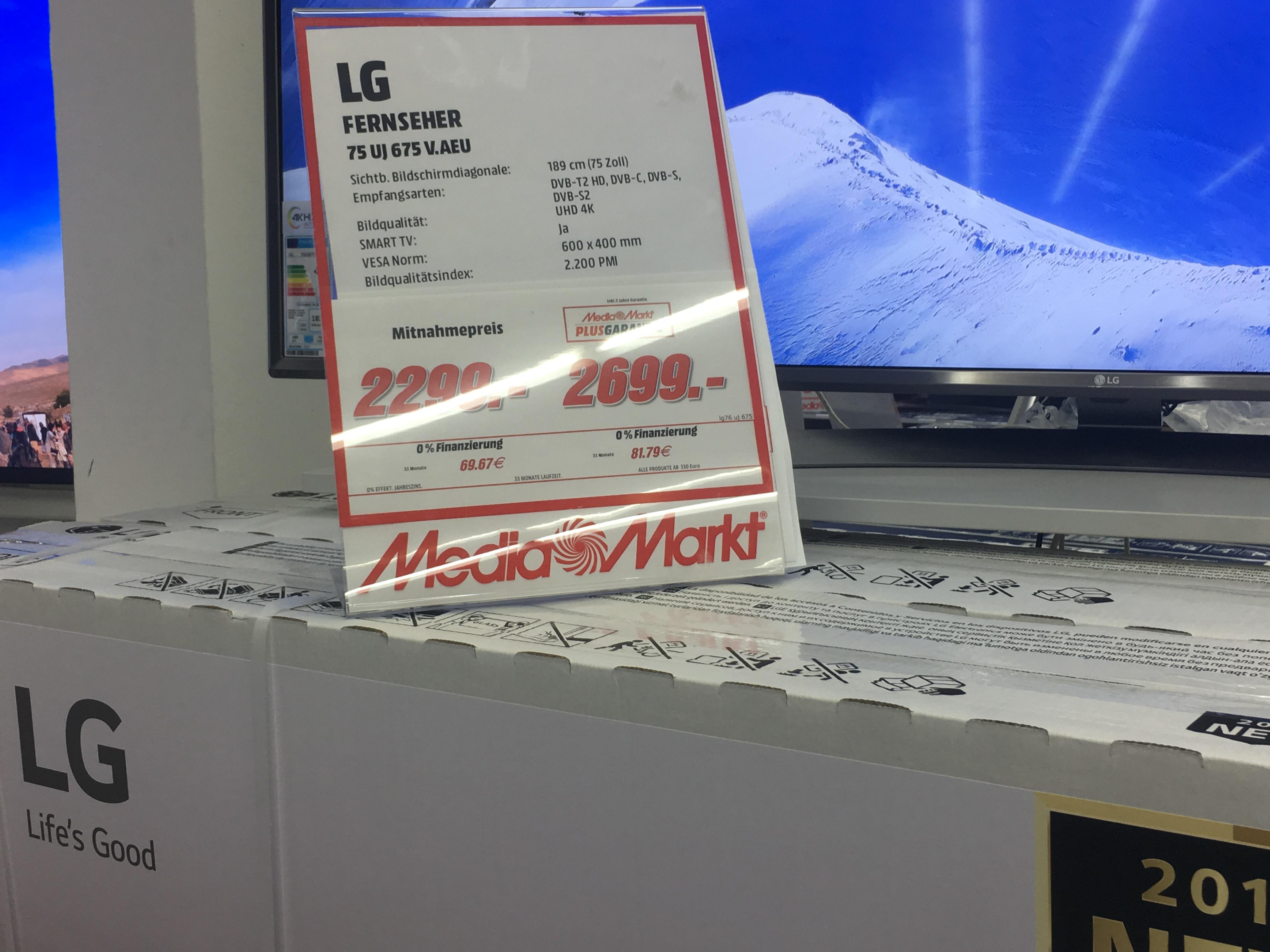 LG 75 UJ 675 V  198cm (75 Zoll) Fernseher (Ultra HD, Smart TV) LOKAL Media Markt Würzburg [Energieklasse A+]