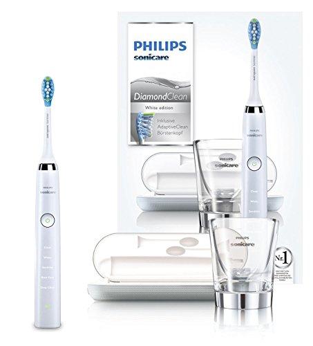 Philips Sonicare DiamondClean Neue Generation Elektrische Zahnbürste mit Schalltechnologie HX9339/89, Ladeglas und USB-Reiseladeetui, weiß