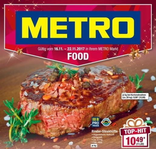 Argentinische Rinder-Steakhüfte 11,22€/kg (Brutto) METRO ab 16.11.2017