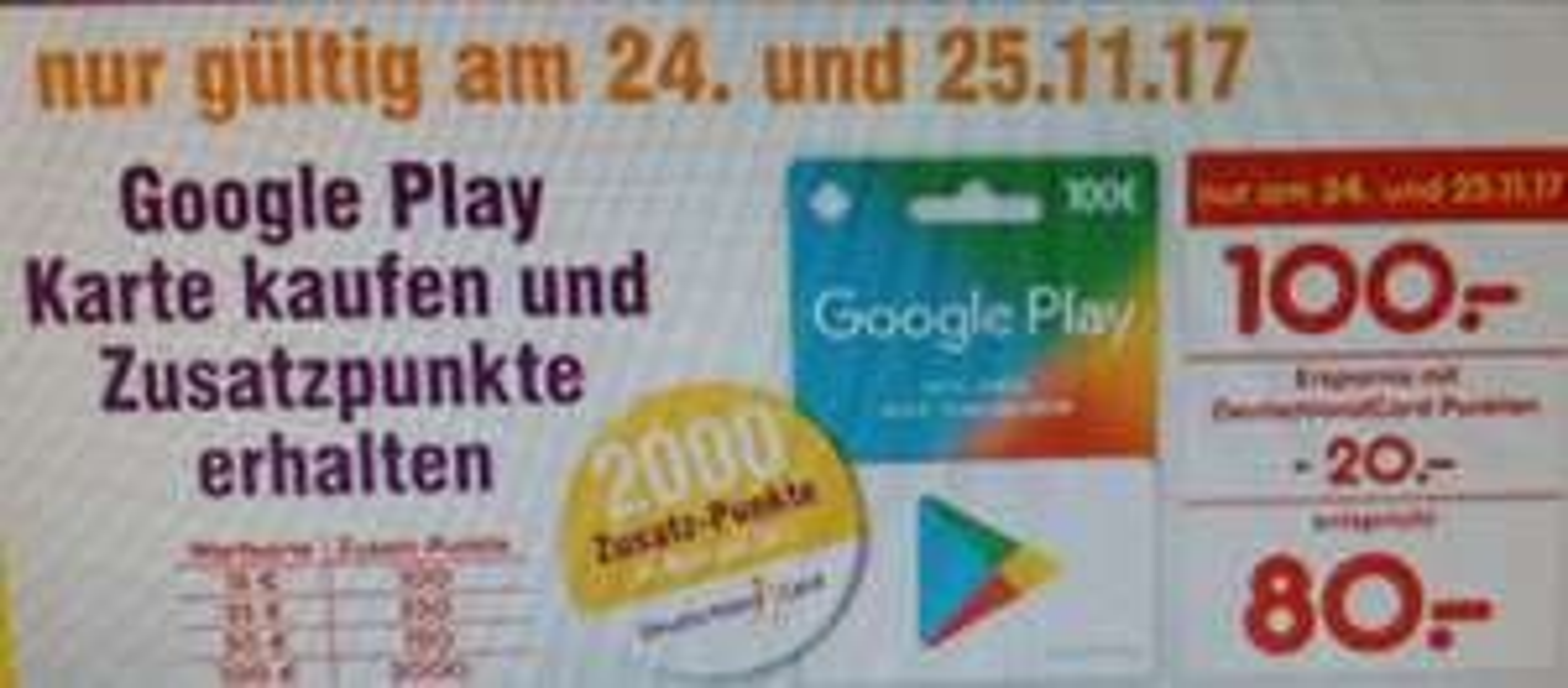 (Netto MD/DC) Nur 24./25.11.2017 gültig: Google Play Karte 100 Euro kaufen und 20 Euro in DC Punkte erhalten  ( sammeln oder in Euro überweisen lassen!).