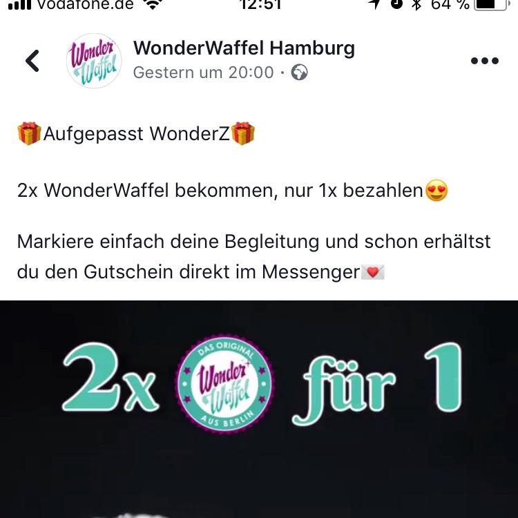 2 für 1 Gutschein Wonderwaffel Hamburg