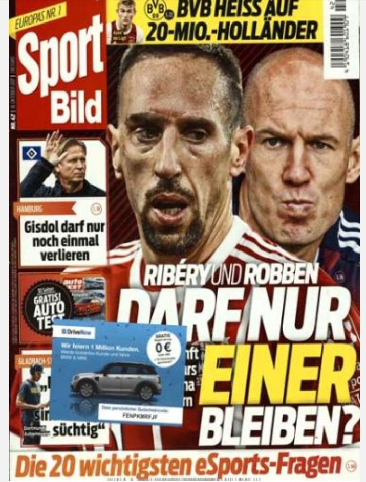 Sport Bild Jahresabo (51 Ausgaben) für 109,65€ mit Prämie von 85€ (Verrechnungsscheck) oder 90€ (Amazon Gutschein)