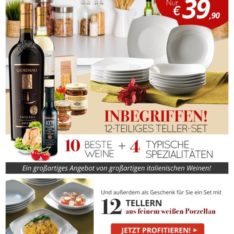 10 Beste Weine + 12 Teller aus Porzellan plus 4 Spezialitäten