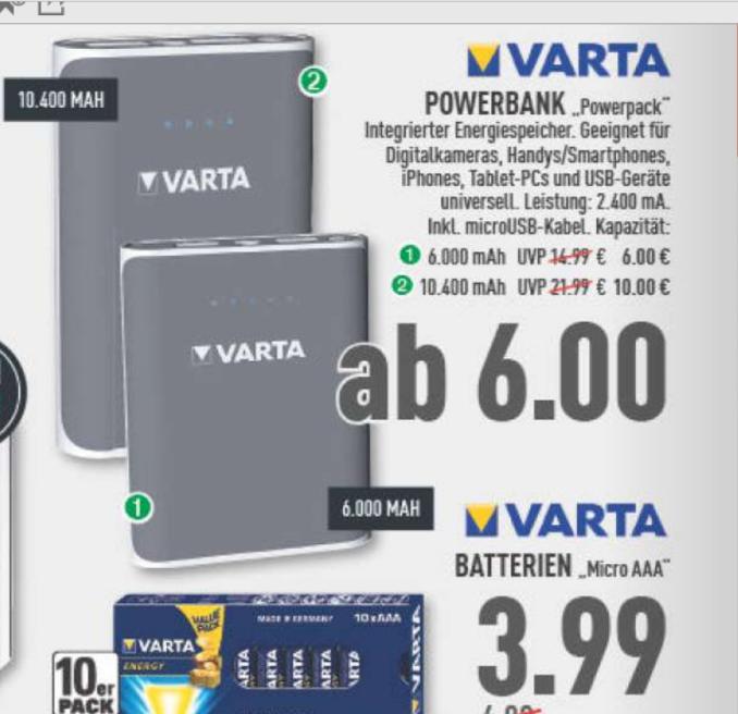 [LOKAL; GT; BI] Varta Powerbank 10400mAh bei Marktkauf